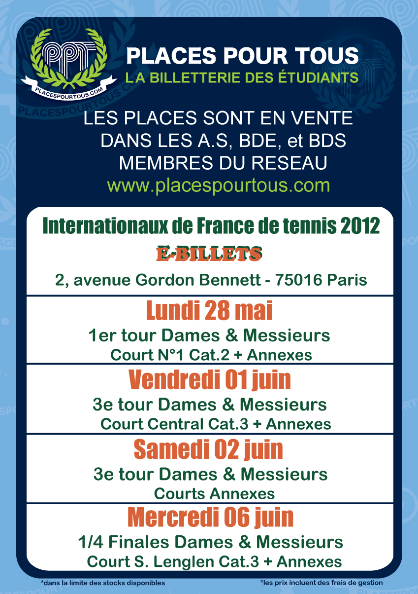 Affiche Roland Garros 2012 | Internationaux de France de Tennis