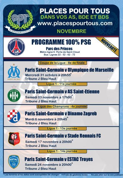 Calendrier L1 Psg.Programme Et Calendrier Du Programme Special Paris Saint