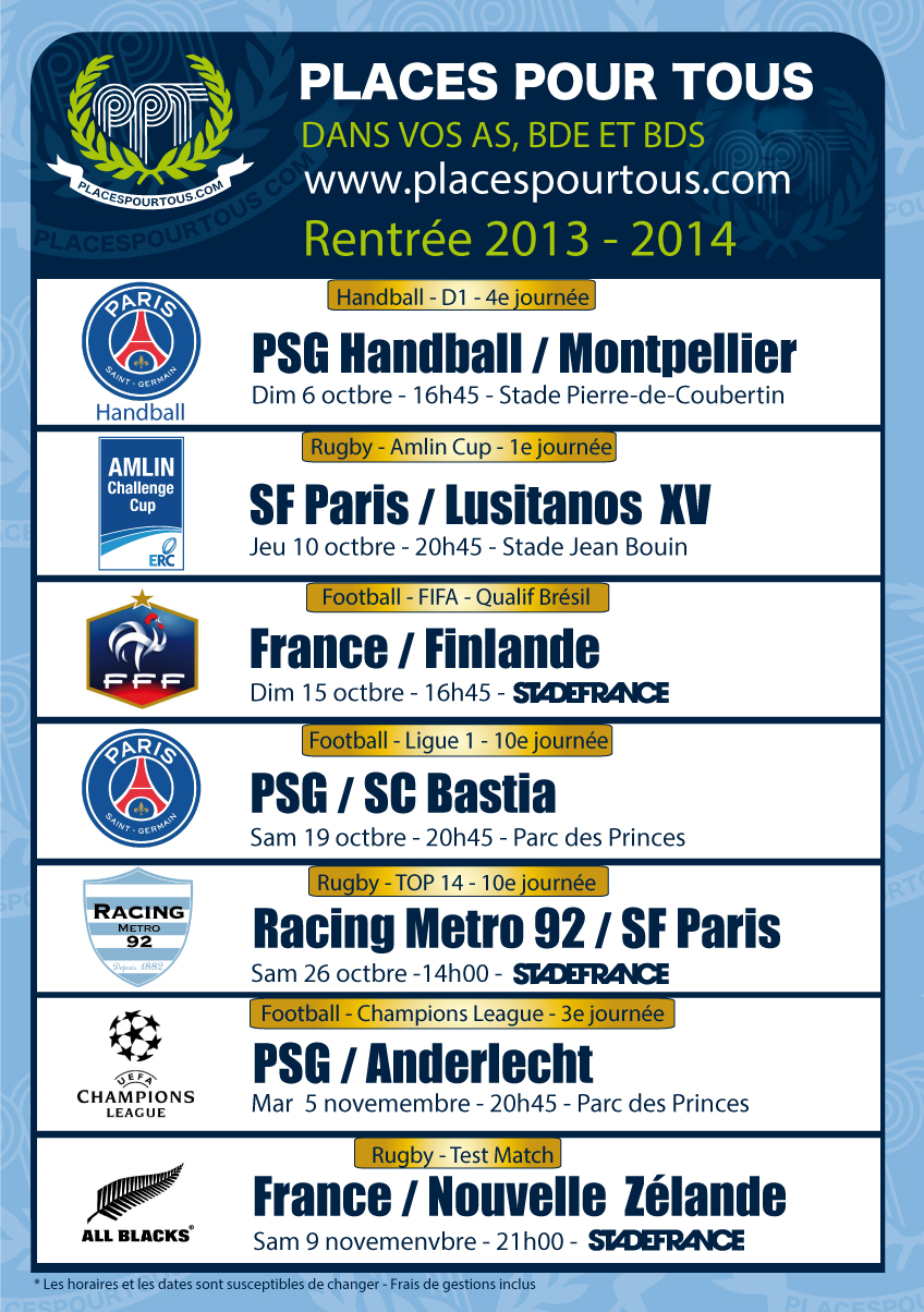 programme 2013 - 2014 PSG EDF FFF