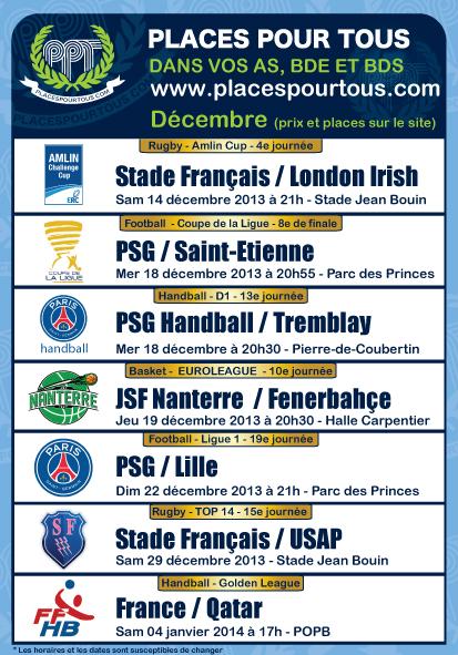 places pour stade français, psg lille, psg saint etienne, nanterre fenerbahçe