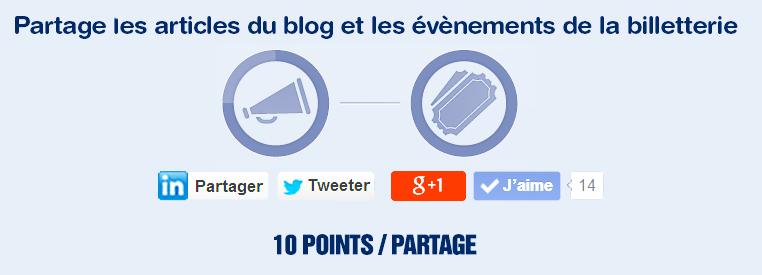 Partage les articles du blog et les évènements Places Pour Tous sur réseaux sociaux et gagne des points pour obtenir encore plus de réduction !