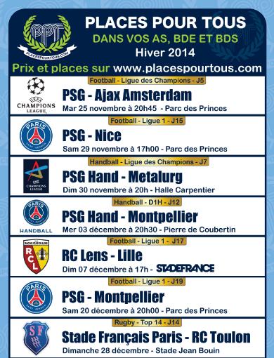 Programme sport hiver 2014 psg lens stade francais