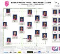 Composition du Stade Français qui affronte les NEwcastle Falcons ce soir au Stade Jean Bouin
