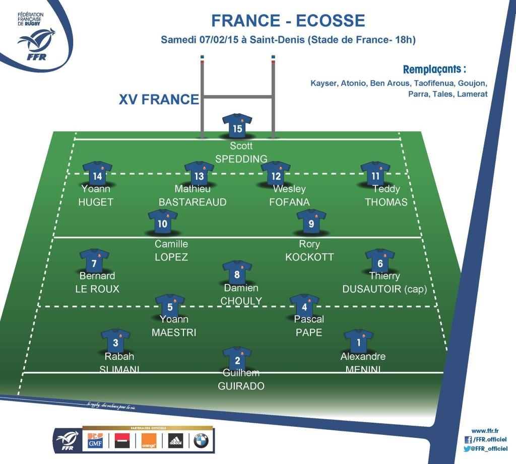 XV de départ pour France - Ecosse.