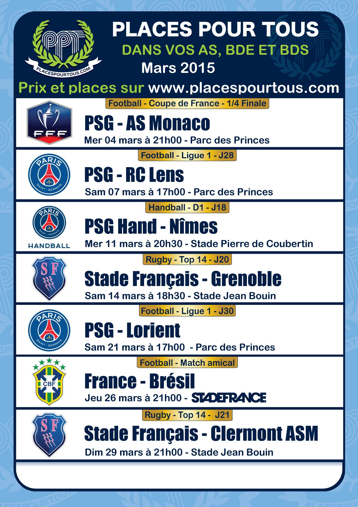 programmation mars 2015 places pour tous, du foot, du rugby, de tout par nous pour vous :)