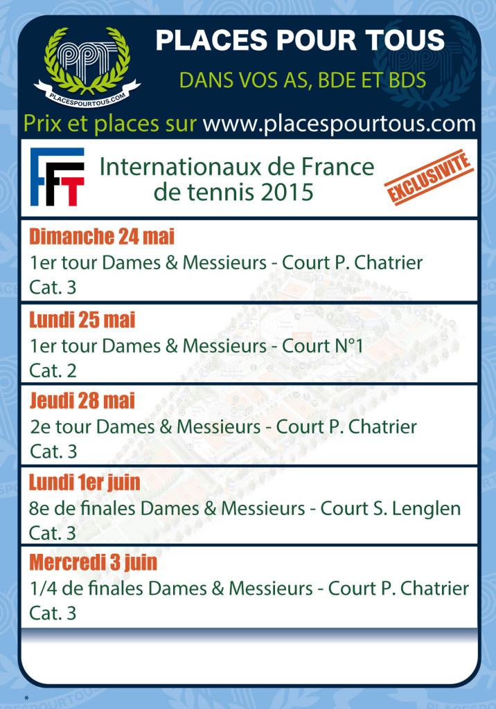 Programmation PPT pour Roland Garros 2015